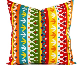 Two OUTDOOR Pillow Covers - Red Pillow Cover - Yellow Throw Pillow - Striped Pillow - Decorative Pillow - Patio Pillow - 16x16 Inch 18x18