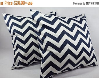 15% OFF SALE Two Navy Blue Chevron Decorative Pillow Covers Blue and White - Throw Pillow Cushion Cover Accent Pillow