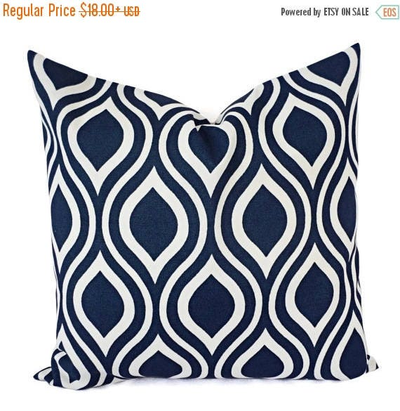 15 OFF SALE Two OUTDOOR Pillows Navy White Pillow Cover