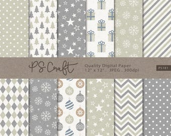 White Christmas Digital Papers, SEAMLESS Holiday Backgrounds, Kraft Christmas Papers,  Holiday Digital Scrapbooking Paper
