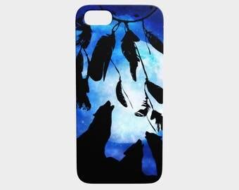 wolf art and dream catcher phone case