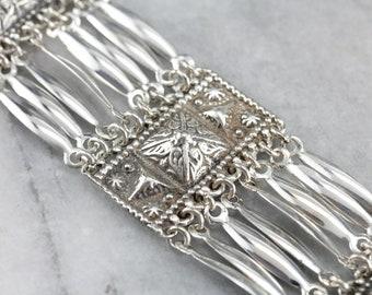Vintage Mexican Sterling Silver Wide Link Bracelet A3MQAW6D-C