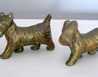 Small Vintage Brass Scottie Dogs x 2