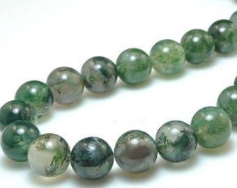 Green Moss Agate Beads, Natural Gemstone Beads, 8mm Agate Beads, Smooth Round Stone Beads, 6mm 10mm 15''