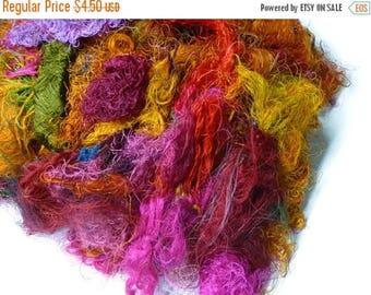 SALE Sari Silk Fiber,1 oz,Mix(warm colours)