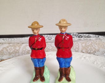 Royal Mounted Police Salt and Pepper Shakers, Stamped Made in Japan #2255, Ceramic Shakers
