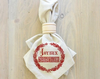 Joyeux Noel Napkin (Style 2) _Christmas, table setting, tableware, place setting, housewarming gift, party, event