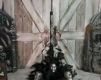 Halloween Centerpiece, Halloween Decor, Skull Centerpiece, SKULL TOWER Glittery Halloween Taper Candle Centerpiece