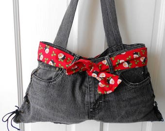 Handmade Recycled Black DENIM JEANS HANDBAG w/ 4 Interchangeable Belts & Matching Small Bag Set