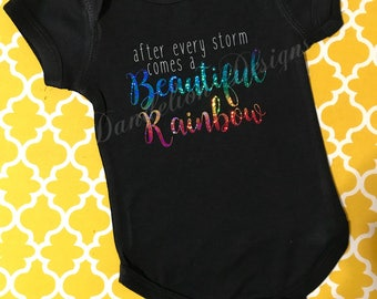After Every Storm Comes a Beautiful Rainbow Shirt Rainbow Baby Bodysuit Pregnancy After Loss multicolor Pregnancy Announcment Reveal Gift
