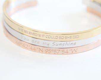 Personalized Bracelet, C6-E1, 1pc, 150mm Circumference, 2mm Thick, Name Bracelet, Friendship Bracelet, Bangle Bracelet, Engraved Bracelet