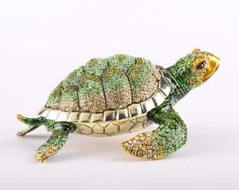 Large Green Sea Turtle Faberge Style Trinket Box Decorated with Swarovski Crystals Handmade by Keren Kopal