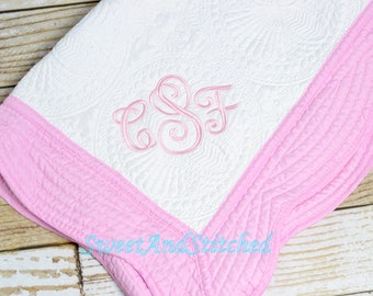 Monogrammed quilt, Quilt, monogrammed Baby Girl quilt, Personalized Quilt with monogram pink or blue, heirloom baby quilt, baby shower gift