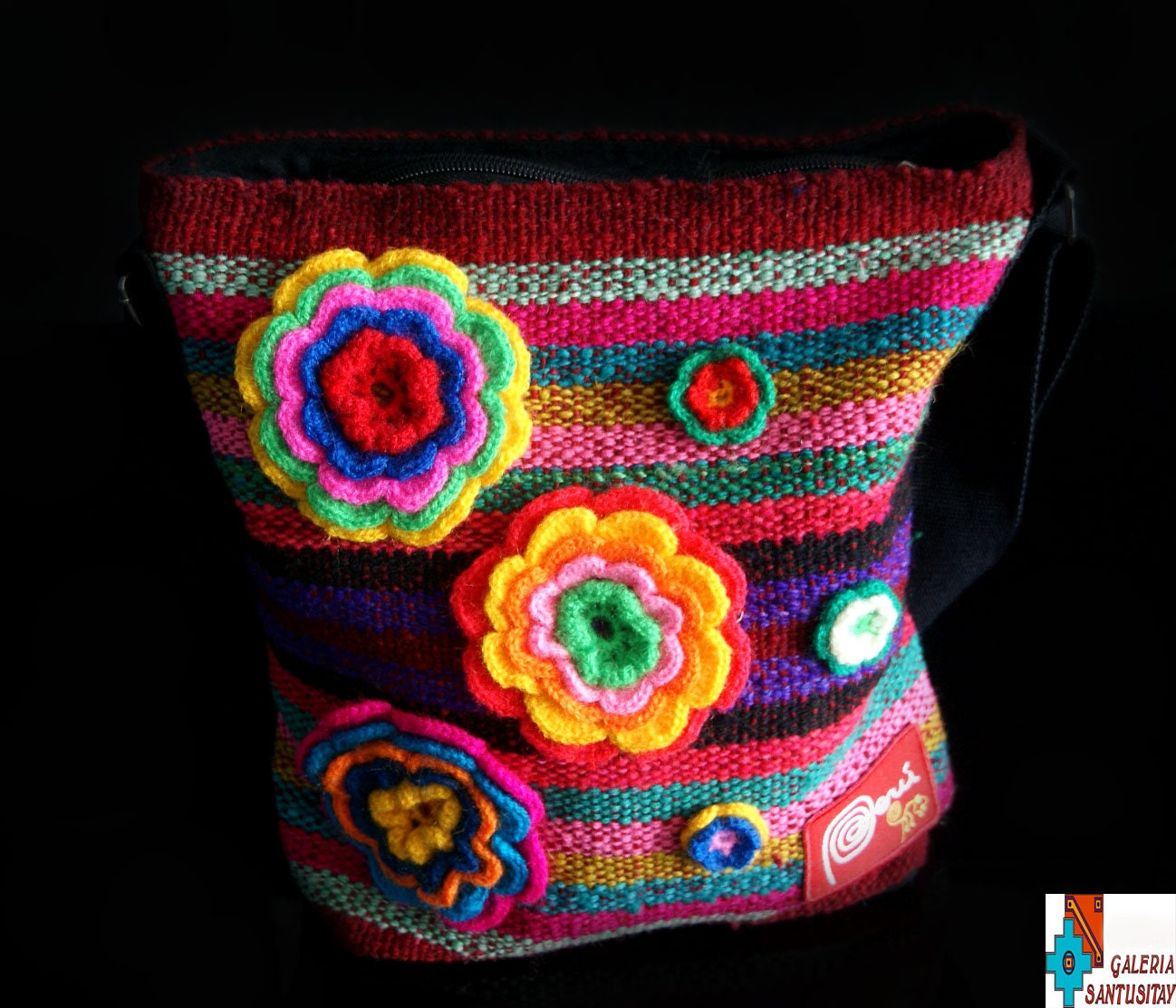 Beautiful colourful hand shoulder bag in hippie style boho beautiful colourful hand shoulder bag in hippie style boho embroidered crochet flowers pink green izmirmasajfo Image collections