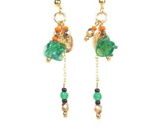 Dangle earrings boho Chic Retro green flowers XINGDU vintageHippie