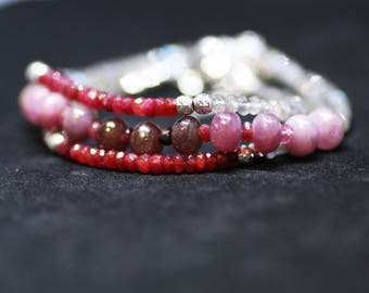 Natural Labradorite , Ruby and Pink Sapphire Wrap Bracelet Long Necklace Sterling Silver , 5th 40th 45th Anniversary , July Sep  Birthstones