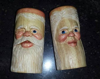 Hand Carved Wood Santa Salt and Pepper Shakers