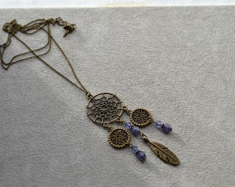 Necklace Dreamcatcher purple tone Swarovski Crystal beads, Crystal beads