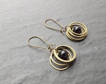 "Earrings ""rings"" blue, blue sand stone beads"