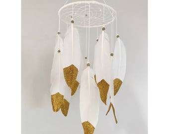 Glitter gold dream catcher mobile, white pearl web, glitter dipped feathers finish 6 inch diameter dreamcatcher hand made
