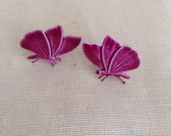 """1970's clip-on ear-rings """"butterfly"""""""