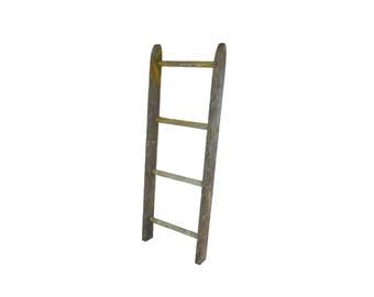 Vintage Wood Ladder Section, 4 Rung Rustic Ladder 45 3/4