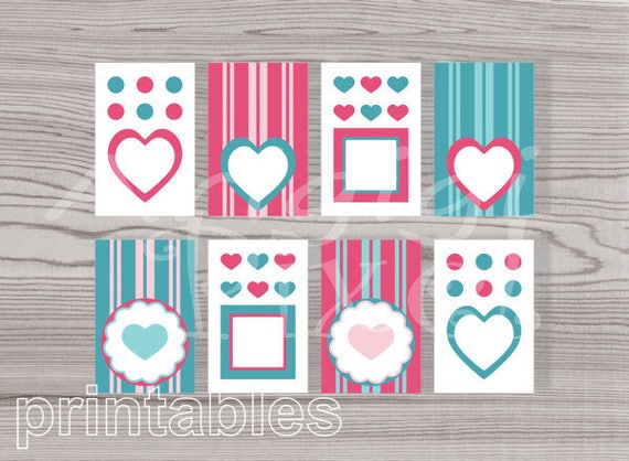 Printable  Gift Tags - Hearts Dots Stripes - Pink and Teal -  Valentines Day - Girl Birthdays - download PNG PDF files