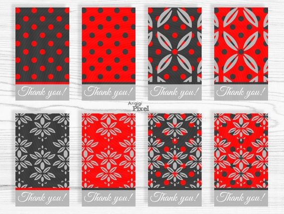 Printable Red Damask Gift Tag, Thank you gift tag template, blank damask tag, red gray, polka dot and damask, DIY crafts mark, DIY gift tag
