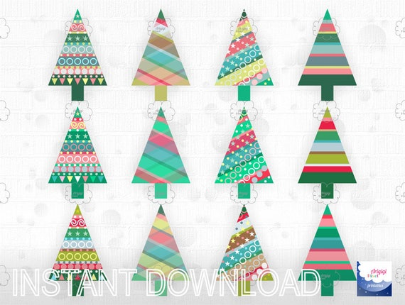 Christmas trees clip art, digital graphic, Holiday clipart, colorful Christmas scrapbooking supplies, small business use,  instant download
