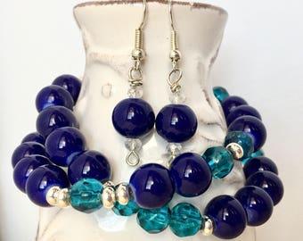 Navy blue beaded bracelet, Blue bracelet for women, Navy and teal bracelet - long bracelet, blue, blue jewelry