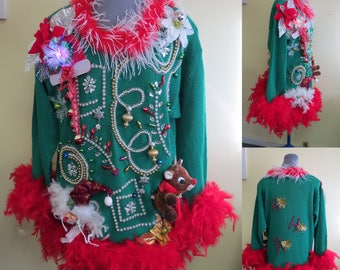 Ohh la..la. Glam Bedazzed Tacky Ugly Christmas Sweater Light UP, Oversized Sz M - L foofoo, Singing Rudolph Reindeer, Beaded. Ready to SHIP