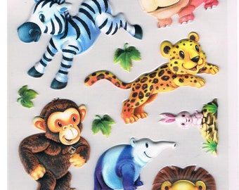 Stickers, zoo animals, 1 sheet  (1326)