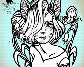 Digital Stamp- Aurora 'Kitty in the garden' -300dpi JPG/PNG files -OCT17005