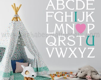 Alphabet Wall Decal - Nursery Wall Decal - Playroom Wall Decal - I Love You Wall Decal - Play Room Wall Decal, Love Decal - 01-0010
