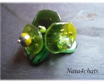 Fusing glass, green glass Czech bead ring