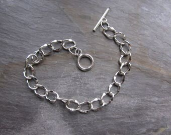 Chain bracelet for charms, silver
