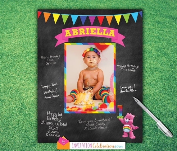 Carebears - Printable Birthday Signature Board - Wishes - Guest Book ...