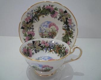 TEACUP ENGLISH CHINA. Vintage Paragon China Teacup and Saucer. Berries and Florals Design Vintage English Bone China Teacup Set.