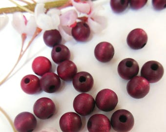 set of 10 round purple wooden beads
