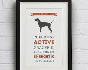 SALE 20% OFF German Shorthaired Pointer Dog Breed Traits Print - GSP Gift