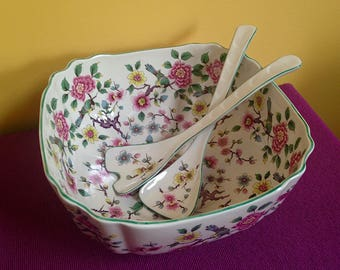 """Old Foley """"Chinese Rose"""" Square Salad Bowl & Servers Set from England"""