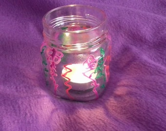 Painted Jar for tealight candle