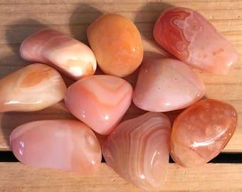 Creamy Apricot Botswana Agate, Large Tumbled Stone, Healing Stone, Healing Crystal, Chakra Stone, Spiritual Stone