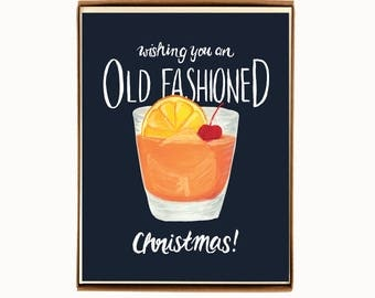 Box of 8  Holiday Drink Recipe Card - Oldfashioned - Wishing you an Oldfashioned Christmas / HLYDRINK-OLDFASHIONED-BOX