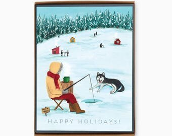 Box of 8 Holiday Cards - Ice Fishing - happy holidays - winter - outdoor - nature