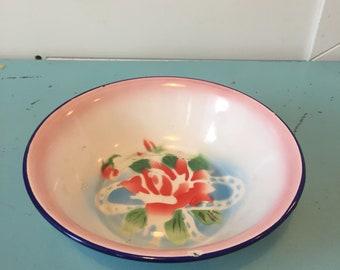 Vintage floral enamel bowl