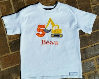 Boys Appliquéd Excavater Shirt with Name and Birthday Number