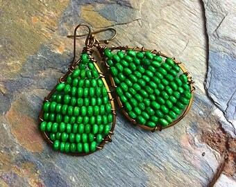 Beaded earrings green earrings boho earrings rustic earrings earthy earrings kelly green earrings