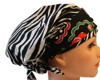 Scrub Hat Cap Chemo Bad Hair Day Hat  European BOHO Banded Pixie Tie Back Black N White Zebra with Red N Pink Roses Band 2nd ships FREE