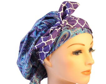 Scrub Cap Surgical Medical Chemo Chef Vet Nurse Hat Banded Bouffant Tie Back Blue Paisley Purple Quaterfoil Tie 2nd Item Ships FREE